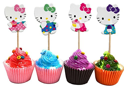 Hello Kitty Cupcake Toppers Party Pack for 24 Cupcakes (Kitty Toppers Cupcake Hello)