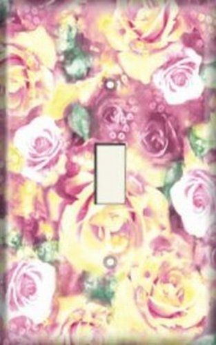 (Decorative Light Switch Plate Cover - Yellow/Pink Roses)