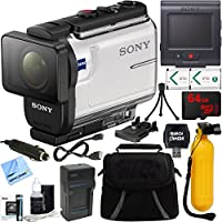 Sony HDR-AS300R Action Camera + Live View Remote & 64GB Accessory Bundle