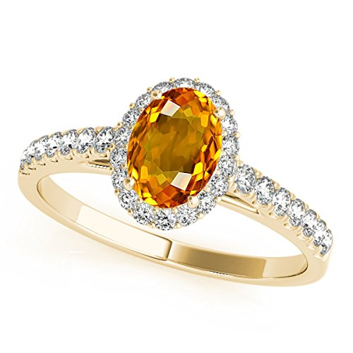 Citrine Shaped Oval Ring (1.75 Ct. Ttw Diamond And Oval Shaped Citrine Ring in 10K Yellow Gold)