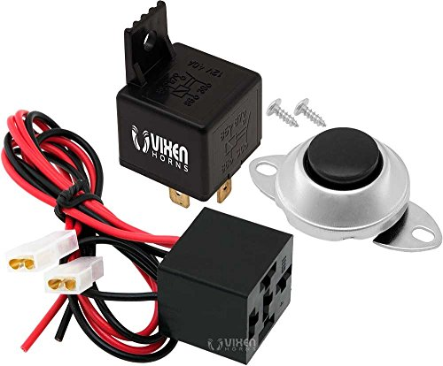 Vixen Horns 4-PIN Relay 40A/12V with Pre-wired Plug/Socket and Momentary Horn Button/Switch VXA7902 (Horn Relay Air)