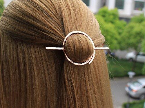 Minimalist Circle Hair Slide, Open Hair Pin Hair Stick, Hair Brooch Hand Forged Hair Barrette, Geometric Hair Holder, Hair Accessories, Gift