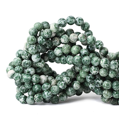 Qiwan 45PCS 8mm Green Dot Natural Stones Beads Round Loose jade beads For DIY Jewelry Making Material 1 Strand 15
