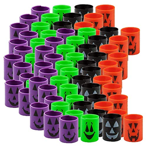 Fun Express 8 Dozen (96) Mini Halloween Magic Springs; Perfect for Trick or Treat; Classroom Giveaways; Party Favors;