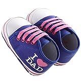 WAYLONGPLUS Prewalker Infant Canvas Soft Sole Anti-Slip Crib Shoes I LOVE DAD Print slip-on Sneaker (Dark Blue Size 12)