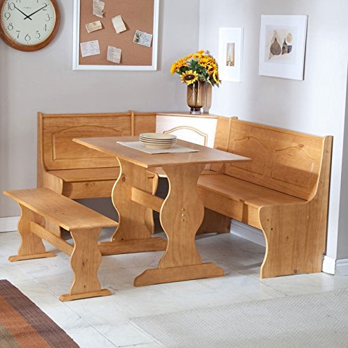 Reversible 3-Piece Corner Dining Set Light Honey Natural Wood Finish - 3 Piece Honey Finish