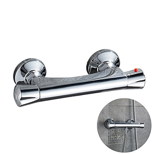 Newsoul Thermostatic Shower Mixer Valve Bar Wall Mount Solid Brass Mixing ValveTap for Bathroom Showering Faucet Hot Cold Water Mixer Constant Temperature Control Valve (Valve Bar Thermostatic Shower)