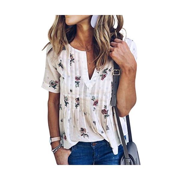 WLLW Women Bohemian Short Sleeve V Neck Floral Print T Shirt Tops Blouse Tee