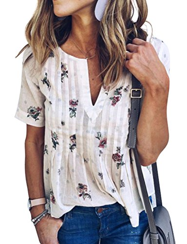 WLLW Women Bohemian Short Sleeve V Neck Floral Print T Shirt Tops Blouse Tee, White, XL