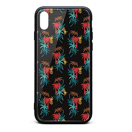 (Phone Case for iPhone Xs Cool Colorful Tropical Coconut Palm Trees Silhouettes Tempered Glass Black Anti-Scratch TPU Rubber Bumper Shock Skin for Women's Back Cover)