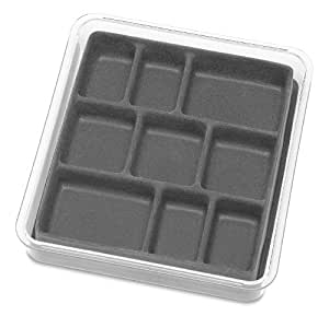 Whitmor 6483-4359-Grey, Stackable Jewelry Tray Collection 9 Section Jewelry Tray