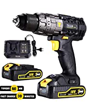 Cordless Drill Driver, TECCPO 60Nm Electric Drill 18V, 30min Fast Charger, 2 Batteries 2000mAh, 13mm Metallic Chuck, 21+3 Torque Setting, 2-Speed Trigger, LED Work Light, 29 Bits - TDHD01P