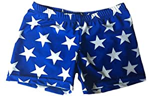 Blue with White Stars Basic Shorts (Blue, 2.5 in. Adult XS 0-2)