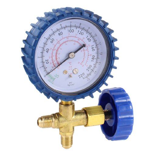 """uxcell 1/4""""NPT Thread Single Manifold Gauge Valve 220psi for Air Conditioner"""