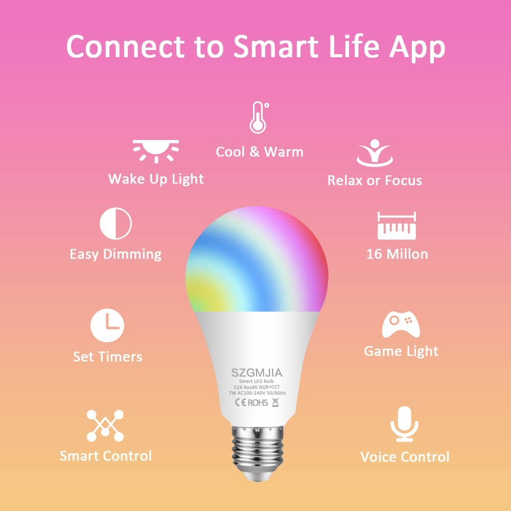 Compatible with Alexa 7W WiFi Dimmable E27 A19 Multicolor Light Bulb 60W Equivalent Google Assistant and IFTTT SZGMJIA 2 Pack LED Smart Light Bulbs No Hub Required