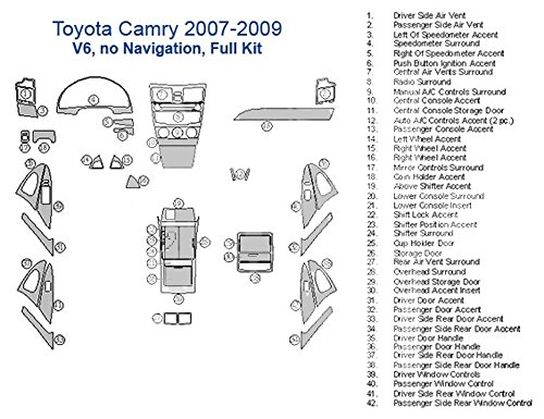 Toyota Camry Full Dash Trim Kit, V6, Without Navigation - Brushed Aluminum