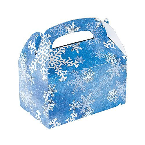 Fun Express 1 Dozen Winter Snowflake Treat Gift Boxes - Christmas Party Supplies ()