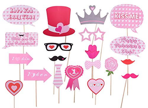 Valentine's Day Party Decorations Pastels Photo Booth Props,Mustaches Lips Hearts - 20 (Lip Pastel)