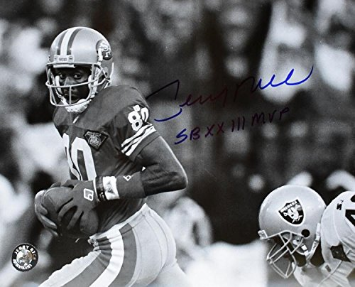 Autographed Rice Photograph - 8x10 inch Super Bowl MVP Guaranteed to pass PSA DNA or JSA - Beckett Authentication (Jerry Rice Photograph)