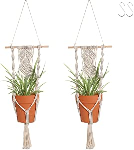 Boho Macrame Plant Hangers - Handmade Hemp Rope Hanging Baskets for Plants with Ceiling Hooks, Bohemian Home Decor Wall Art (Wood Hanger, 2)