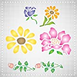 """FLOWER STENCIL (size: 3.25""""w x 4""""h) Reusable Stencils for Painting - Best Quality Wall Art Decor Ideas - Use for SCRAPBOOKING, Walls, Floors, Fabrics, Glass, Wood, Cards, and More..."""