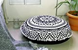 Popular Handicrafts Large Hippie Lotus Mandala Floor Pillow Cover - Cushion Cover - Pouf Cover Round Bohemian Yoga Decor Floor Cushion Case- 32'' Black & White