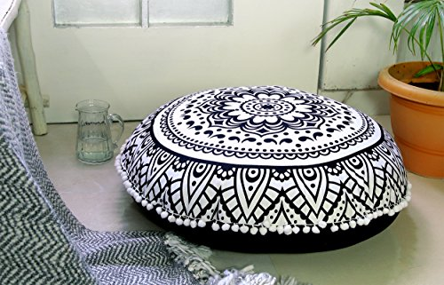 Popular Handicrafts Large Hippie Lotus Mandala Floor Pillow Cover - Cushion Cover - Pouf Cover Round Bohemian Yoga Decor Floor Cushion Case- 32'' Black & White by Popular Handicrafts