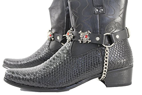 - Trendy Fashion Jewelry TFJ Men Biker Boot Bracelets Black Leather Straps Silver Skeleton Pirates Skulls Motorcycle Style