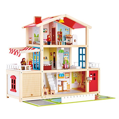 Hape Kids Wooden Doll Family Mansion with Accessories by Hape