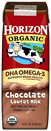 Horizon Organic, Lowfat Organic Milk Box With DHA Omega-3, Chocolate, 8  Fl. Oz (Pack of 18), Single Serve, Shelf Stable Organic Chocolate Flavored Lowfat Milk, Great for School Lunch Boxes, Snacks by Horizon Organic (Image #1)