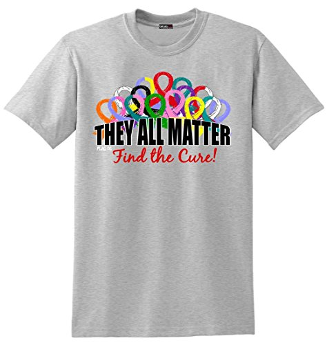 Fight Like a Girl They All Matter Cancer T-Shirt by Unisex Heather Grey [S] (Cancer Womens T-shirt)