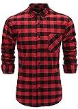 Emiqude Men's Flannel 100% Cotton Slim Fit Long Sleeve Button-Down Plaid Dress Shirt XL Black Red