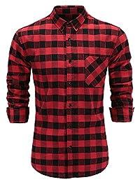 Emiqude Men's Slim Fit Flannel Cotton Long Sleeve Casual Plaid Button Down Dress Shirt