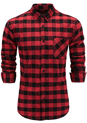 (Emiqude Men's Flannel 100% Cotton Slim Fit Long Sleeve Button-Down Plaid Dress Shirt Medium Black Red)