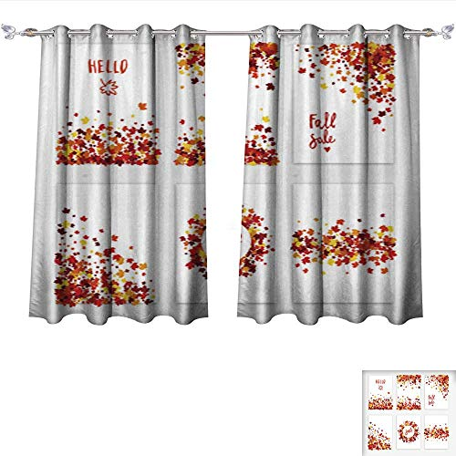 Light Sturbridge 6 (Drapes for Living Room Autumn Sale Vector Creative six Greeting Card Set of Scattered Maple Leaves in Traditional Fall Colo Tie Up Printed Blackout Curtain W55 x L39/Pair)