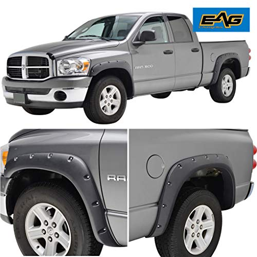 EAG Fender Flares Rivet Style Bolt on Pocket Fit 02-08 Dodge Ram 1500/03-09 Dodge Ram 2500/3500 HD ()