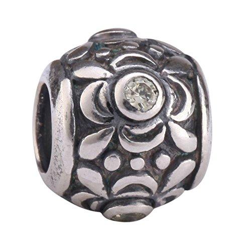 Flower Design Sterling Silver Charm November Birthstone Charm Bead Swarovski Crystal fits All Charm Bracelets (Star Slide Charm)