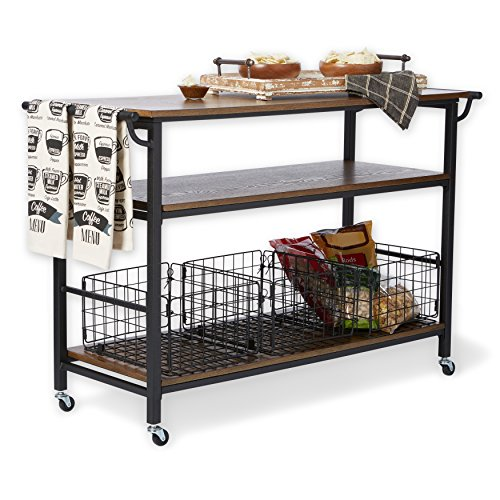 Industrial Rustic Wood Table Top Kitchen Cart with Metal Frame, 3 Storage Baskets and Shelf - Includes Modhaus Living Pen