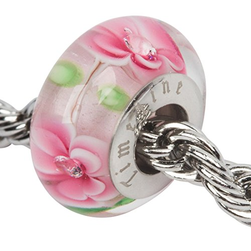Pink Flowers Rhinestone Flower Charm for European Charm Bracelets Lampwork Glass Stainless Steel
