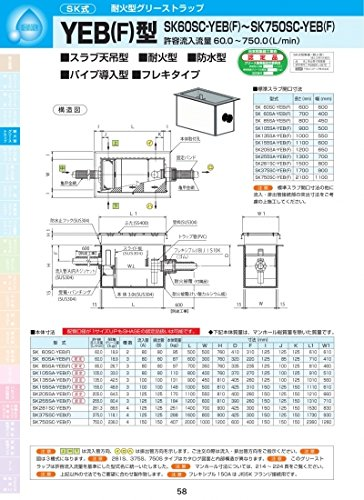 YEB(F)型 SK255SA-YEB(F) モルタル化粧用蓋SUS304 モルタル化粧用蓋SUS304  B071ZFN7HT