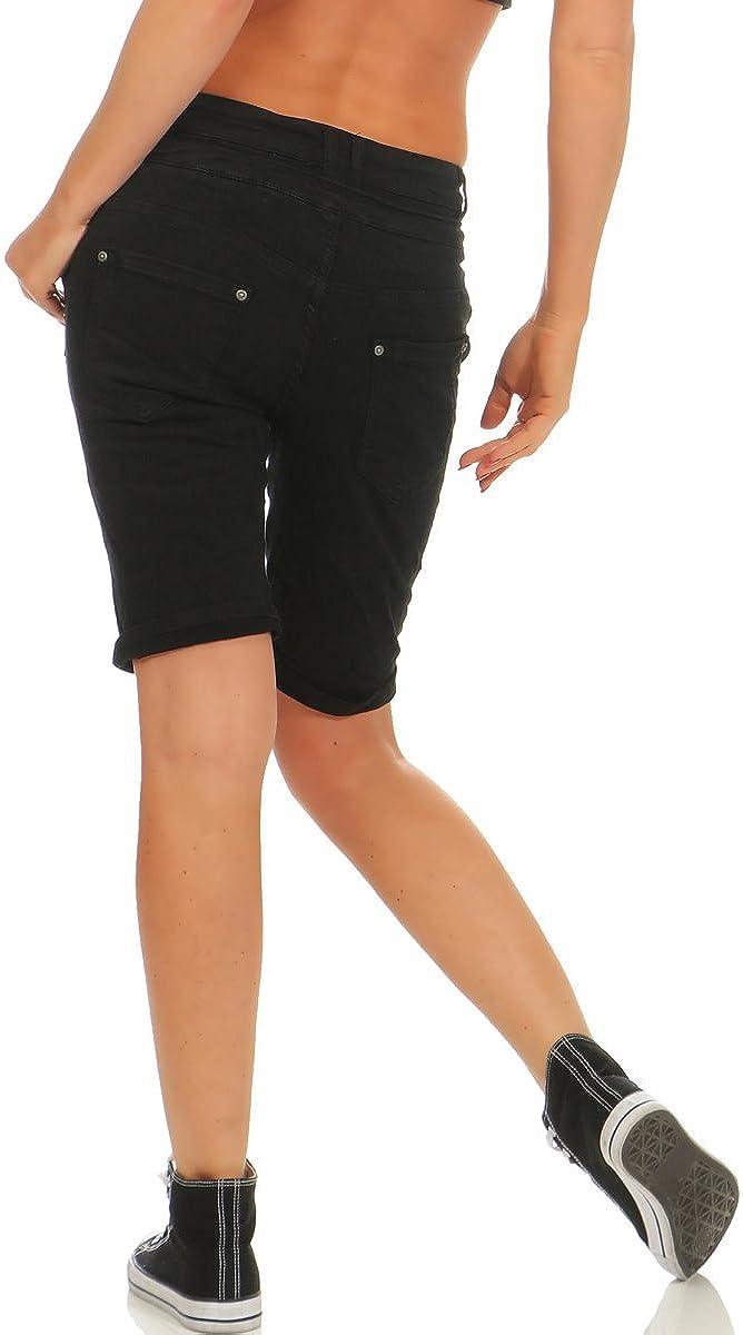 Fashion4Young 11509 MOZZAAR Damen Jeans Bermuda Hose Boyfriend Denim Shorts Slimline Knopfleiste Zipper Slim-Fit