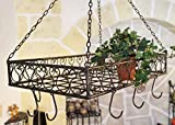 DanDiBo Pot rack ''Cucina'' 76390 Pan rack 60 cm Rack hanging from Ceiling Hanging shelf Hanger