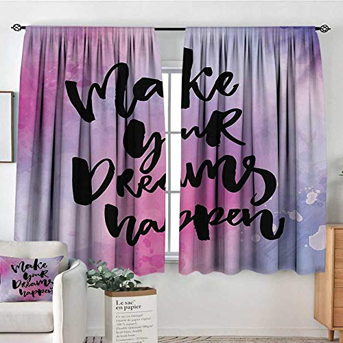 Quote Patterned Drape for Glass Door Make Your Dreams Happen Motivational Saying About Dreams Goals and Life Blackout Draperies for Bedroom 63