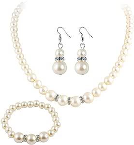 Ogquaton Simulado Collar de perlas Pendiente Pulsera Conjunto de joyas Mujeres Accesorios nupciales Durable y útil
