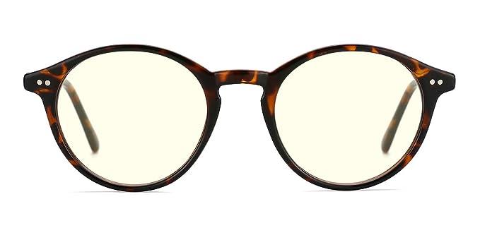 e4c126c3c992 Image Unavailable. Image not available for. Color  TIJN Blue Light Blocking Glasses  Men Women Vintage Thick Round Rim Frame Eyeglasses