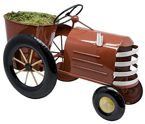 Alpine Corporation Small Metal Outdoor Flower Planter with Stand - Tractor - Outdoor Yard Decor