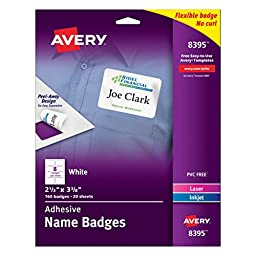 Avery White Adhesive Name Badges, 2-1/3\