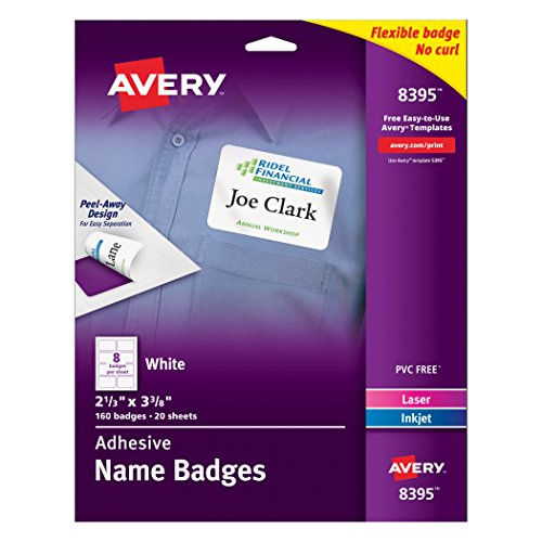 Avery Labels Adhesive - Avery Adhesive Flexible Name Badges, 2.33 x 3.375 inches, White, Pack of 160 (8395)