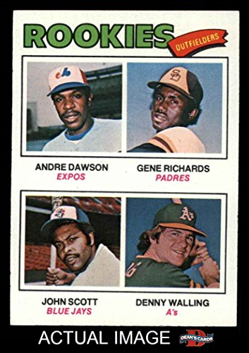 1977 Topps # 473 Rookie Outfielders Andre Dawson / Gene Richards / John Scott / Denny Walling Expos / Padres / Blue Jays / Athletics (Baseball Card) Dean's Cards 7 - NM Expos / Padres / Blue Jays / Athletics 1977 Rookie Card