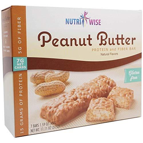 NutriWise – Divine Peanut Butter Bars | Gluten Free | Diet Snack Bar | High Protein, Low Sugar, Low Net Carbs, High Fiber, Chol Free (7/Box)